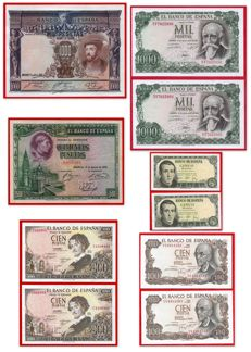 Spain - Lot of 10 banknotes - Years between 1925 -1971 - Pairs with correlative numbers
