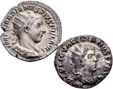 Roman Empire - Lot of 2 silver Antoniniani - Gordian III 238–244 A. D. and Valerian I 253–260 A. D. (2x)