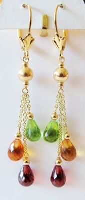 585 gold drop earrings with natural garnets, citrines & peridot 9.40 ct in total