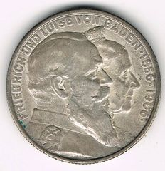 German Empire, Baden - 2 Mark 1906 Golden Wedding Anniversary - silver