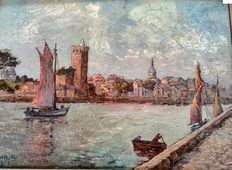 E. Chenot (beginning 20th century) - Mediterranean harbor view