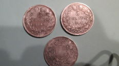 Europe - 1 Lot of 3 coins (France & Italy) 1842/1876 – silver