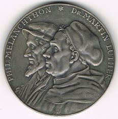 Germany, Weimar Republic - Silver Medal 1930 by Fritz Hörnlein on 200th Anniversary of the Augsburg Confession, 1530-1930: Philipp Melanchthon, Martin Luther