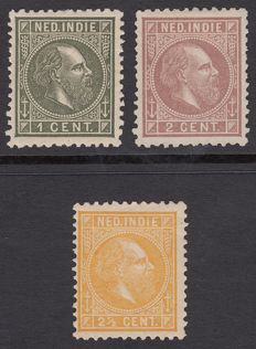 Dutch East Indies 1873 - King Willem III, with comb perforation 11½:12 large holes - NVPH 4G, 5G and 7G