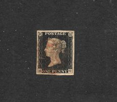 Great Britain Queen Victoria 1840 - Stanley Gibbons 1, 1d intense  black, plate 1b