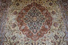 Silk carpet, Kashmir, approx. 285 x 186 cm, recently cleaned