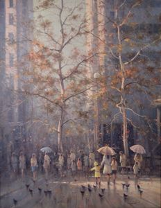 Ramon Ward-Thompson (1941-) - Sydney, Autumn, Martin Place.