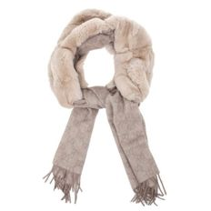 Gucci - Exclusive–Beige–Rabbit Fur–GG Pattern cashmere Scarf