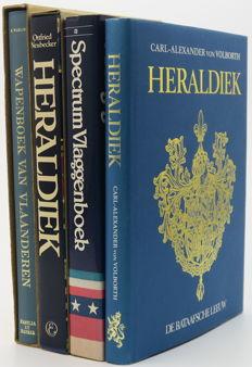 Lot with 4 books about heraldry, coats of arms and flags - 1972 / 1985