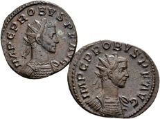 Roman Empire - Lot of 2 AE Antoninianus of emperor Probus 276–282 A.D. D., minted in Lugdunum (2x)
