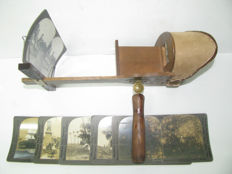Antique stereoscope for relief/3D photographs - 19th century - Manufactured in the USA - Ref. 700