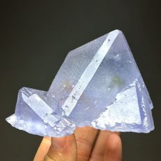 Extreme Rare Natural Translucent Blue Pyramid Fluorite Crystal Cluster - 86 x 47 mm - 257g