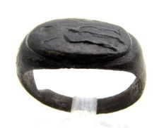 Ancient Roman Bronze Seal Ring with depiction of Hercules holding Club - Wearable Gift with Gift Bag - 18mm