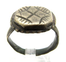 Crusaders Holy Land Seal Ring with Star / Cross on Bezel - Wearable gift with bag - 19 mm