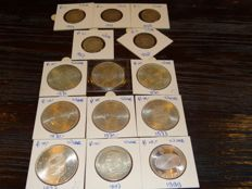 The Netherlands - 1 and 10 guilders 1954/1999, Juliana and Beatrix - (14 pieces in total) - silver