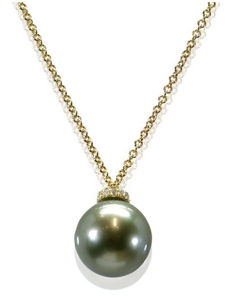 Necklace Featuring 0.06Ct VS Diamonds Crafted in 18K Yellow Gold and a Lustrous Olive Green 10.8 mm Tahitian Pearl - Authenticity Certificate Included