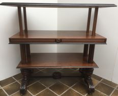 Beautiful partly ebonised mahogany Willem III etagere table with pull out mechanism - The Netherlands - ca. 1880