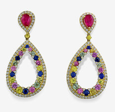 Magnificent ruby sapphire brilliant earrings 8.44 ct 750 yellow gold *NO RESERVE PRICE*