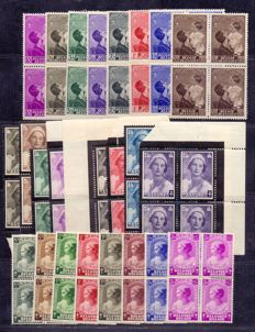 Belgium 1935/1938 - 3 complete series, theme 'Queen Astrid and children' - OBP 411/418, 447/454 and 458/465 in block of 4