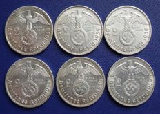 Third Reich - 2 Mark 1939 A, B, D, F, G, J - Paul von Hindenburg - silver