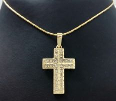Chain with cross in 18 kt yellow gold with 0.24 ct of diamonds