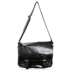 Fossil - Black Leather Messenger Satchel Bag