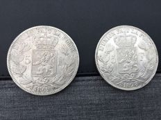 Belgium - 5 francs 1849 with large 9 and 1873 Leopold I and Leopold II - silver