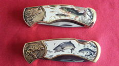 Franklin mint jachtmes collectors knife, 24 krt verguld, 2 stuks