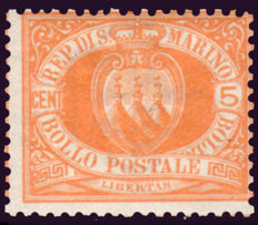 San Marino 1877 - Coat of arms 5 cents yellow orange - Sass. No. 2