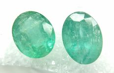 Couple of 2 Emerald Green 6.44 ct   -No Reserve
