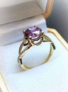 New 14 kt Gold small hearts Ring with Large 1.75 ct Amethyst - 19 mm diameter
