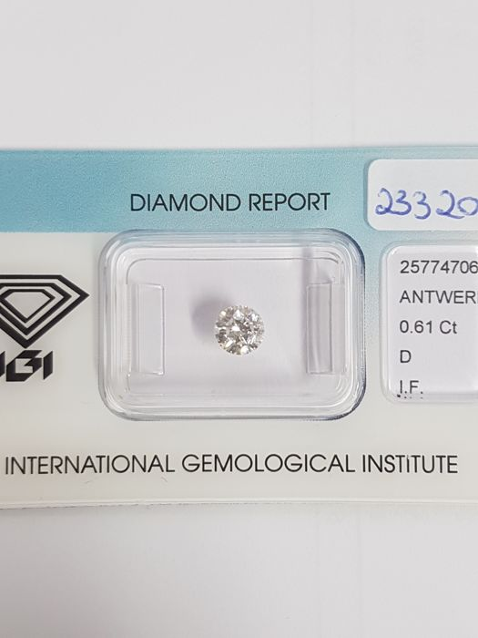 0.61 brilliant cut diamond, D IF.