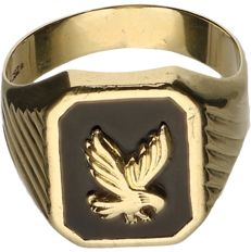 14 kt Yellow gold signet ring set with onyx and an image of an eagle. - ring size: 20.5 mm