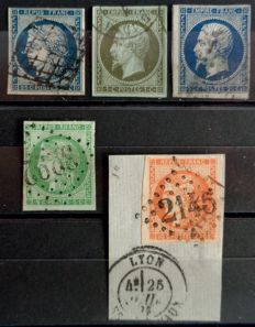 France 1850/1870 - Classic Cérès and Napoleon - Yvert no 4, 11, 15, 42b and 48