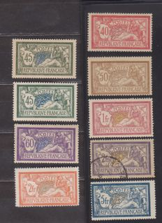 France 1900/1907 - Merson type - Yvert 119, 120, 121, 122, 123 and 143, 143d, 144, 145