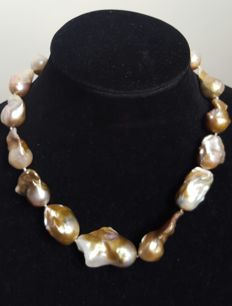 Silver 925 - XL Fresh water cultured Pearls Necklace - Length: 47 cm