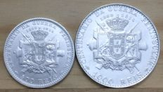 Portugal Monarchy – D, Manuel II – 500 & 1.000 Réis 1910 – Centenary of the Peninsular War – Silver