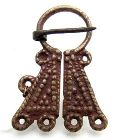 Bronze Penannular Brooch with Decorated Terminals - 58 mm