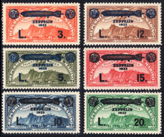 San Marino, 1933 – Airmail, Zeppelin, complete series – Sass. No. A11/16.