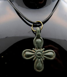 Crusaders Period Bronze Cross Pendant - WEARABLE GIFT WITH GIFT BAG - 37x27mm