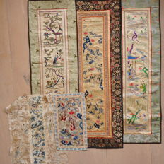 Five embroideries on silk - China - first half - second half 20th century