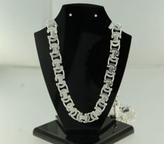 925 silver, flat Byzantine-chain necklace - 60 cm long