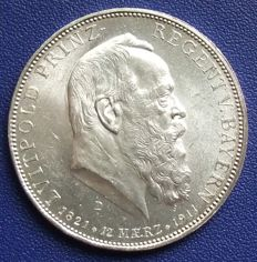 German Empire, Bavaria - 5 marks 1911 on the occasion of the birthday of Prince Regent Luitpold - silver