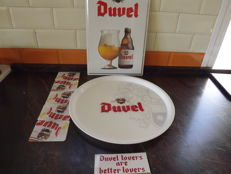 Set Of DUVEL, Belgium Beer, 1Enamel sign, 2Tray, 3 a new adhesive and 4 , 5 cardboard coasters.