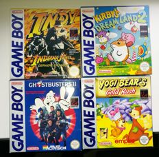4 Gameboy games- Yogi Bear + Kirby's Dreamland 2 + Indy + Ghostbusters ll