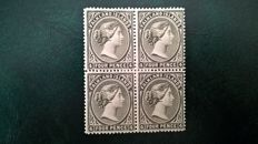 Falkland Islands 1883/95 - Scott 6b, 4d in block of 4