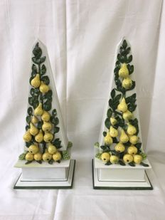 A set of large and rare marked Italian antique table obelisks with pears on lion's feet on base, Italy,