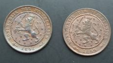 The Netherlands - 1 cent 1898 and 1899 and Wilhelmina - 2 pieces - bronze