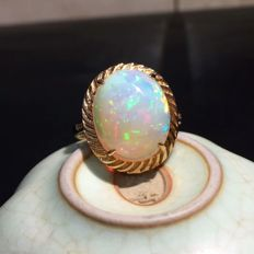 6.05 Carat Opal Ring In 18K Solid Gold with Diamond; Ring Size: 7.2*** Free Shipping *** Free Resizing