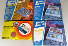 Four Classic electronic project kits - Experiments - Philips + Kosmos